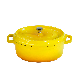 yellow, heiss, handle, get, aluminum, cast, iron, le creuset, oven, stove, braise, pot, serving