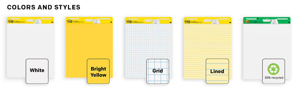Different colors and styles of Post-it Easel Pads: White, Bright Yellow, Grid, Lined and Recycled