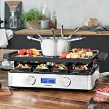 Gastroback Design Raclette Fondue Advanced, SilberSchwarz