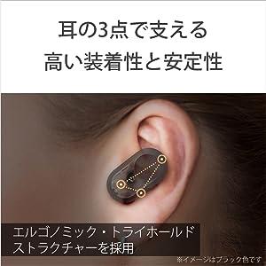 高い装着性と安定性。人間工学に基づき、耳の3点で支える「エルゴノミック・トライホールド・ストラクチャー」を採用。高い密閉性を実現し、物理的にもノイズを防ぐことでノイズキャンセリング性能向上に寄与してい