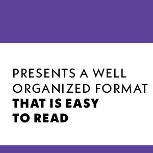 presents a well organized format that is easy to read