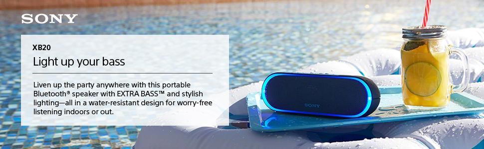 Sony SRS-XB20 2017 MODEL XB20 LED Bluetooth Wireless Speaker White Black Blue