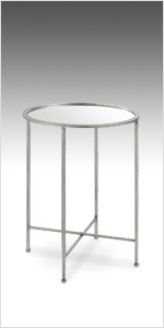 modern end table, mirrored, silver