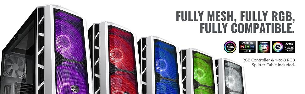 Cooler Master H500 H500P Mesh White RGB LED high airflow air flow HAF