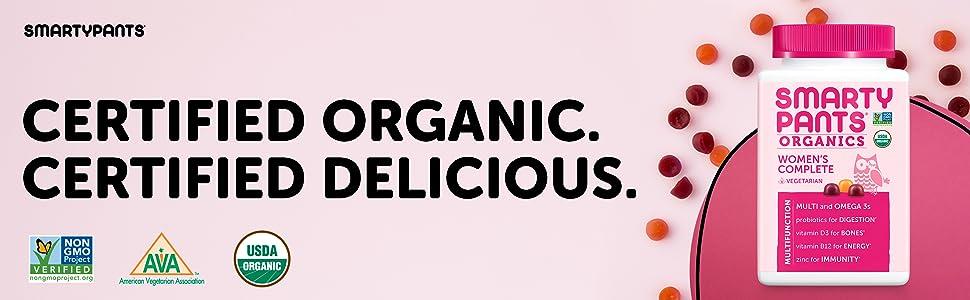 SmartyPants Organic Women's Formula Daily Gummy Vitamins: Probiotic,  Vitamin D3,
