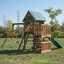 Elkhorn, WS 8357, swing set for kids, swing set with slide, wooden play set, play set for kids