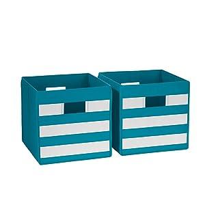 White Striped 2 Piece Storage Bins