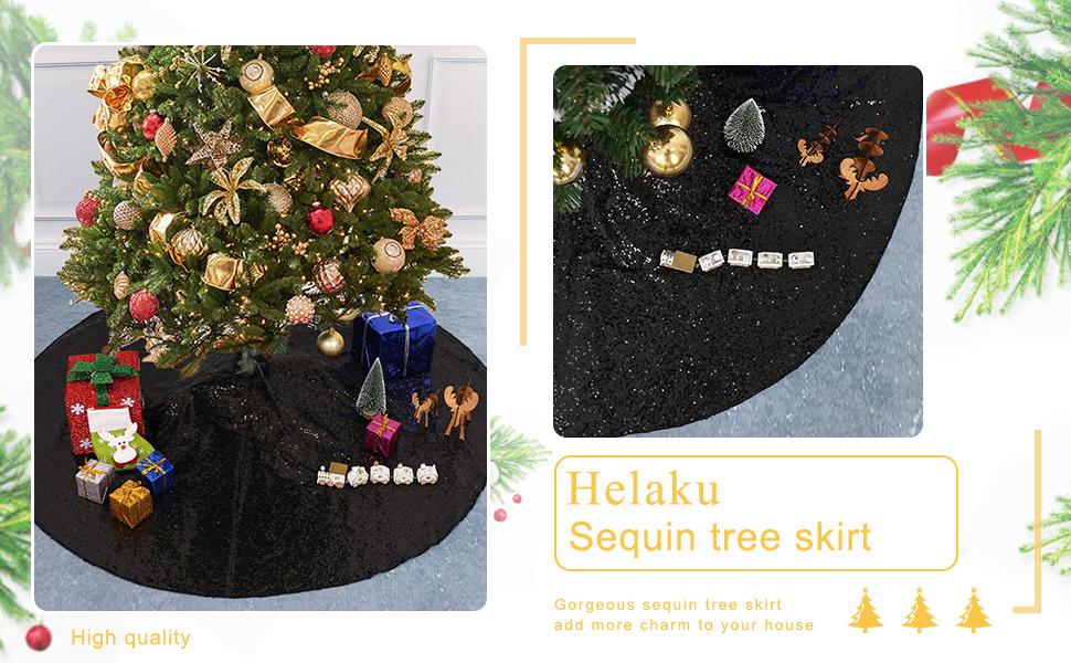 48 Helaku Christmas Tree Skirt Red Sequin Tree Skirt