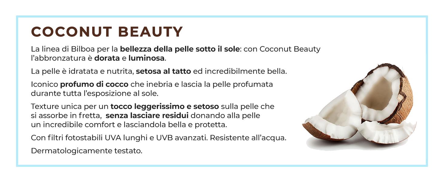 Bilboa, coconut beauty, abbronzatura, idratazione, nutrimento, texture unica