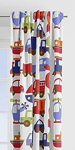 Bacati - Transportation Multicolor Single Curtain Panel