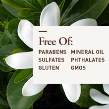 Free of parabens sulfates gluten mineral oil phthalates gmos