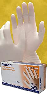 Platinum Latex White Disposable Gloves 5.5 mil thick textured tattoo auto law enforcement medical de
