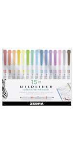 zebra pen, mildliner markers pen set, 15 beautiful mild colors, double ended, broad and fine tip