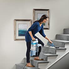 portable lift away stairs upholstery canister bag bagged bagless reach extended suction hose cord