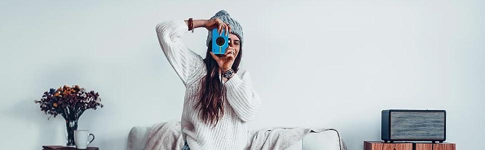 blue Polaroid camera