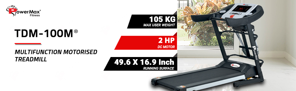 Powermax Fitness TDM-100M Semi-Auto Lubrication, Multifunction Treadmill for home fitness