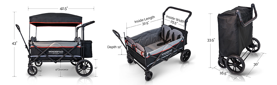Double Seats with 5-Point Harness Adjustable /& Removable Canopy WonderFold Multi-Function 2 Passenger Push Folding Stroller Wagon Smoky Gray