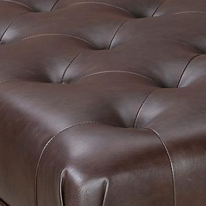 Magnificent Hastings Brown Tufted Faux Leather Ottoman Brown Machost Co Dining Chair Design Ideas Machostcouk