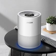 Purificador de aire Aicok – filtro HEPA, silencioso, luz de noche, elimina el 99,97% de las bacterias, el polen, el polvo, el humo de cigarrillos y los olores de la cocina: Amazon.es: