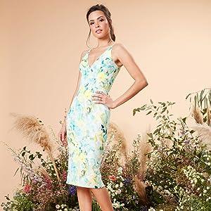 Dress the Population Women's Lyla Plunging Sleeveless Fitted Midi Sheath Dress Ivory Sage
