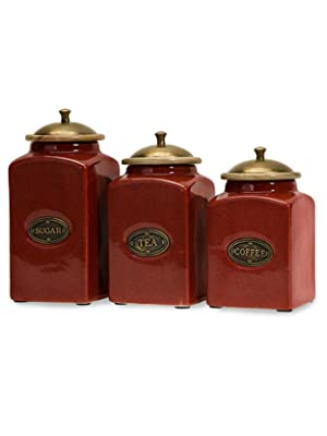 Amazon Com Imax 5268 3 Red Ceramic Canisters Set Of 3 Handcrafted Kitchenware With Mango Wood Lid Brass Content Label Decorative Jars