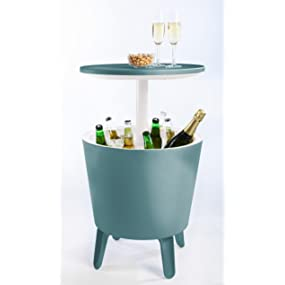 Keter Pacific Cooler Bar Rattan Patio Table