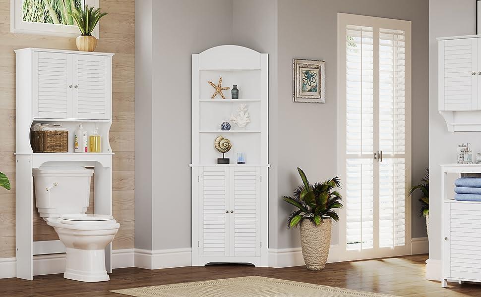 white storage bathroom cabinet