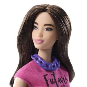 Muñeca Barbie 97 con curvas, pelo castaño ondulado y top