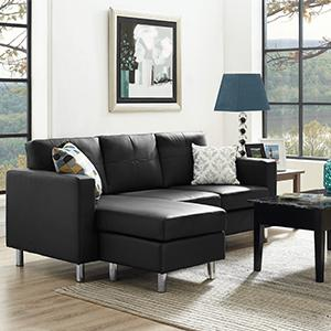 Dorel-Living-Small-Spaces-Sectional-Sofa-Living-Room- : sectional sofa in living room - Sectionals, Sofas & Couches