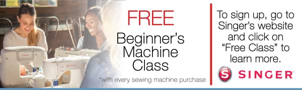 Sign up for a Free Beginner's Sewing Class on singer.com.