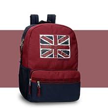 mochila roja y azul