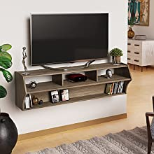 """Prepac DCAW-0208-1 Altus Plus 58"""" Floating TV Stand, Drifted Gray"""