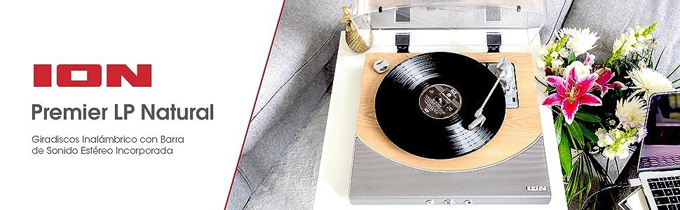 ION Audio Premier LP - Tocadiscos de vinilo Bluetooth, de 3 velocidades, altavoces estéreo, salida USB para convertir vinilos a formato digital, ...