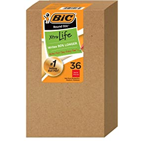box of 36 bic round stic xtra life red ballpoint pens