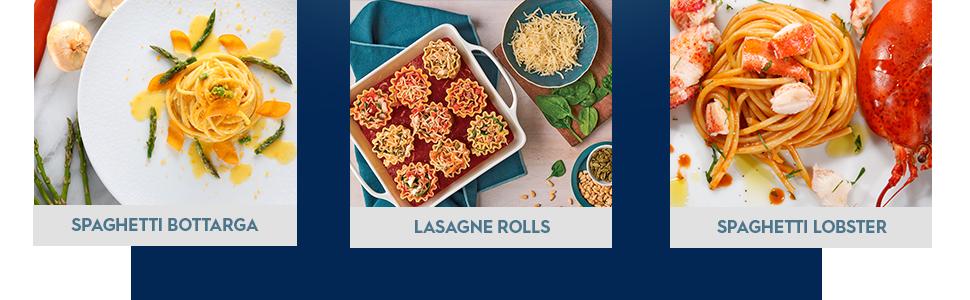 spaghetti bottarga, lasagne rolls, spaghetti lobster