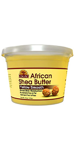 OKAY African SheaButter-YellowSmooth-Hair&Skin Moisturize&Soothe-All Natural16oz