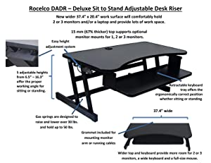 Rocelco Adr Height Adjustable Sit Stand Desk Computer