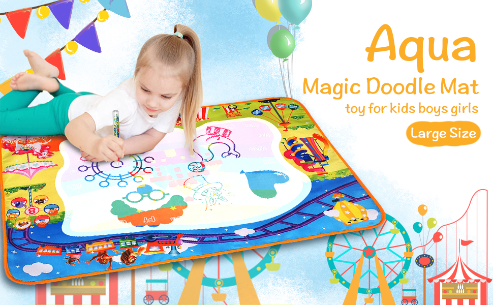 Amazon Com Mozooson Drawing Toy For 3 Years Old Girls Extra Large Water Coloring Drawing Mat For Kids Mess Free Painting Toy With 5 Magic Pens For Kids Boys Girls Toys Games