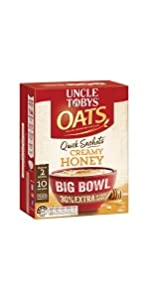 uncle tobys quick sachet oats instant breakfast big bowl creamy honey
