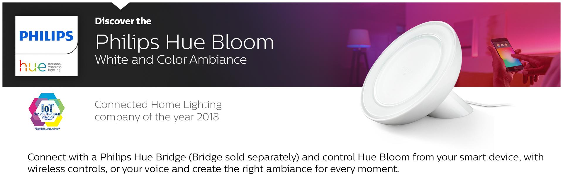 philips hue bloom dimmable led smart table lamp compatible with amazon alexa apple homekit and. Black Bedroom Furniture Sets. Home Design Ideas