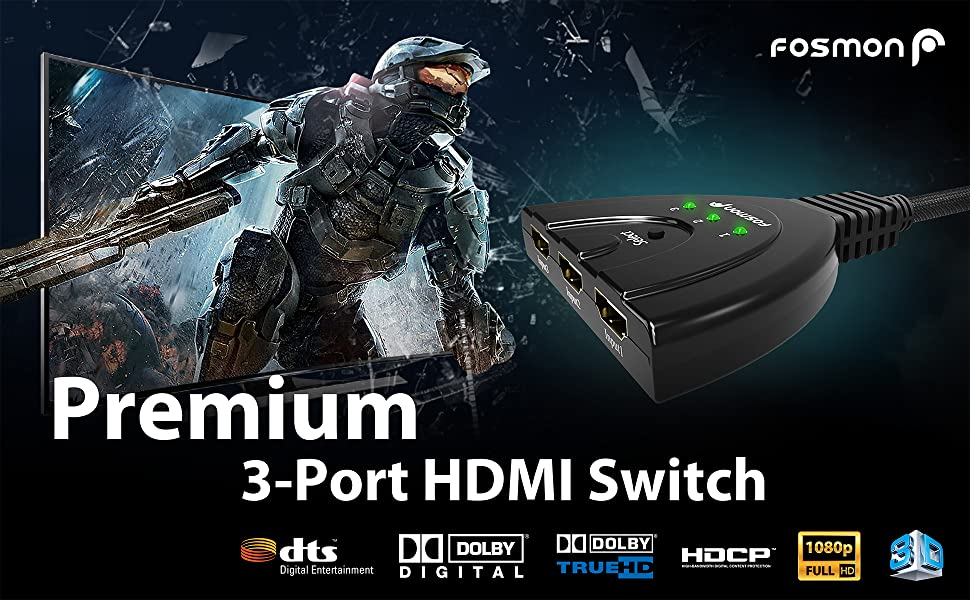 3x1 ports hdmi splitter switcher switch pigtail 1080p 3d hdtv hd 4k 3 port high speed remote adapter