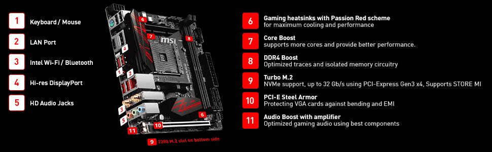 Msi B450i Gaming Plus Ac Am4 Ryzen Mini-itx Motherboard 2x Ddr4 1x Pcie  1xturbo M 2 Dp Hdmi Raid