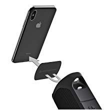 Apple iphone x mounted to a MagicPlate bring magnetically set on a boombottle mm