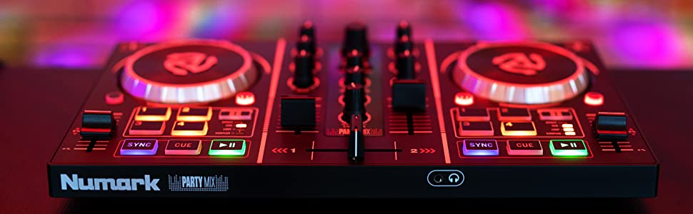 Numark Party Mix | Two-Channel Plug-and-Play DJ Controller for Serato DJ  Lite with a Built-In Audio Interface with Headphone Cueing, Pad Performance