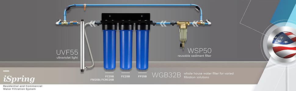 iSpring WSP 50 Reusable Spin Down Sediment Water Filter 50
