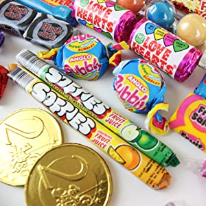 Anglo Bubbly, Black Jack, Fruit Salad, Chocolate Coins, Softies, Love Hearts