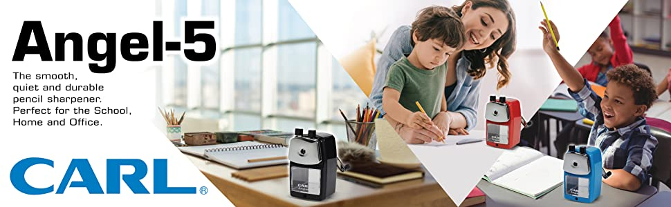 Carl A5 Quiet Pencil Sharpener for school, home, office