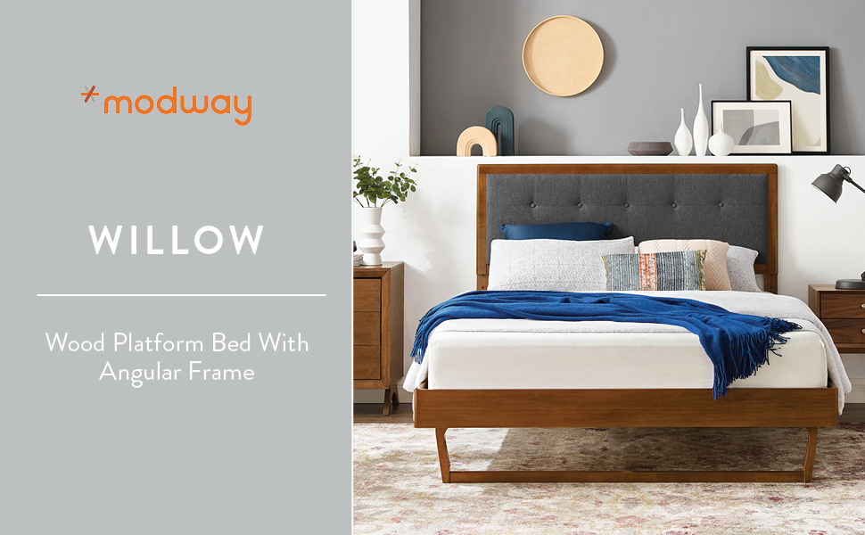 Modway Willow Wood Twin Platform Bed In Walnut Charcoal With Angular Frame Single Furniture Decor