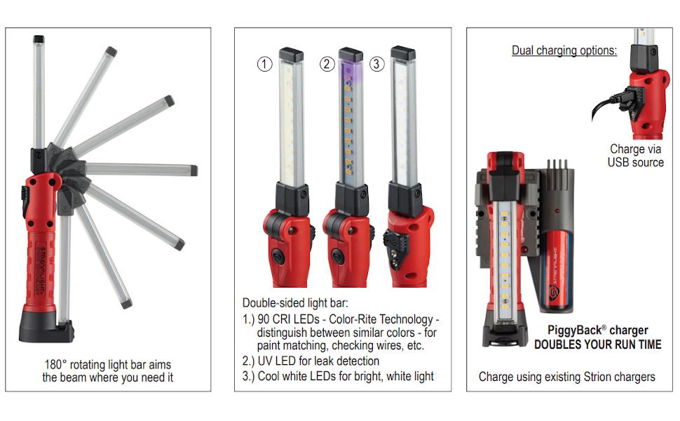 Streamlight 74850 Strion Switchablade Area Light Red W// USB Cord