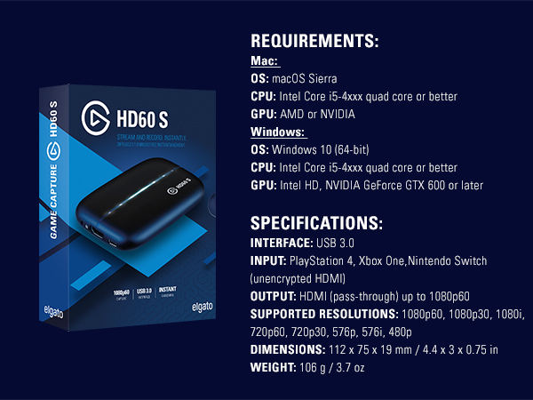 Elgato Game Capture Card HD60 S - Stream and Record in